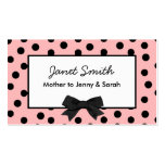 Fashionable Pink and Black Polka Dot Mommy Card Double-Sided Standard Business Cards (Pack Of 100)
