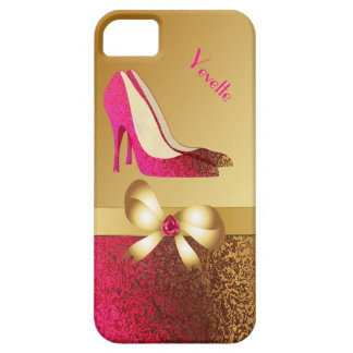 Fashionable Pink & Gold Tone Stiletto iPhone 5 Cases