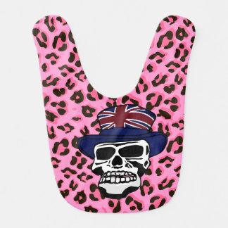 Fashionable Punk Skull wearing Union Jack top hat Bib