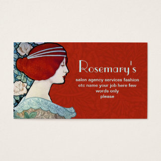 fashionable retro style business card with woman