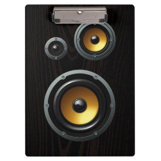 Fashionable Retro Wood Grain Speaker Trio Clipboard