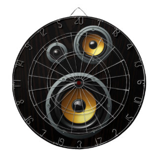 Fashionable Retro Wood Grain Speaker Trio Dartboard