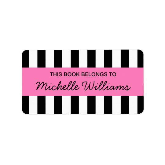 Fashionable stripes pink panel bookplates label