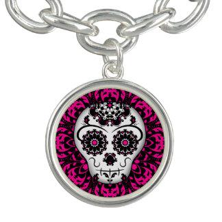 Fashionable sugar skull charm bracelet
