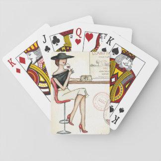 Fashionable Woman Drinking Wine Poker Deck