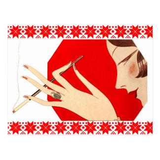 Fashionable Woman Smoking Postcard