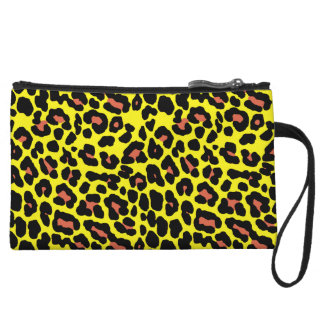 Fashionable yellow and orange leopard print patter wristlet