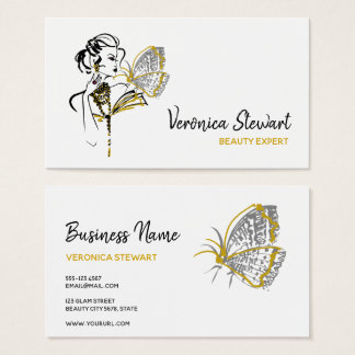 Fashionillustration Beauty Business Butterfly Business Card