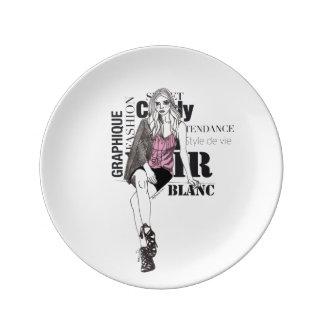 Fashionista #1 porcelain plate