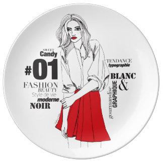 Fashionista #2 porcelain plates