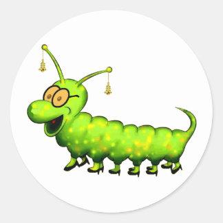 Fashionista Caterpillar Classic Round Sticker