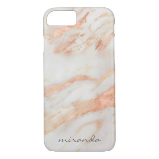Fashionista Pink and White Marble with Name iPhone 7 Case