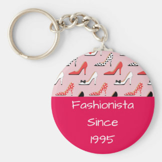 Fashionista since High Heels Pink Design Basic Round Button Keychain