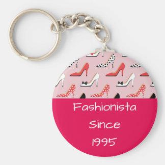 Fashionista since High Heels Pink Design Keychain