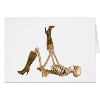 Fashionista Skeleton in Leopard Boots Card