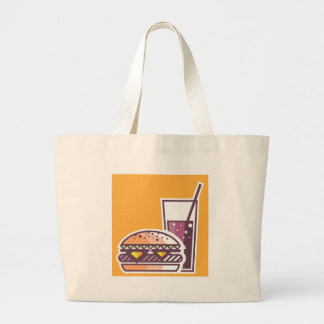Fast Food Cheeseburger and Drink Large Tote Bag