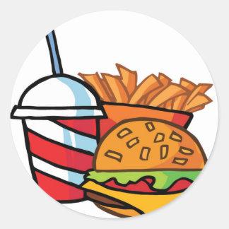 Fast Food Cheeseburger Round Sticker