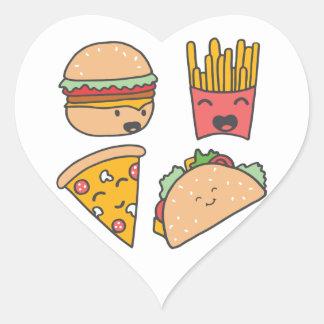 fast food friends heart sticker