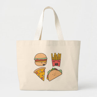 fast food friends large tote bag