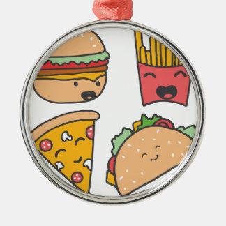 fast food friends metal ornament