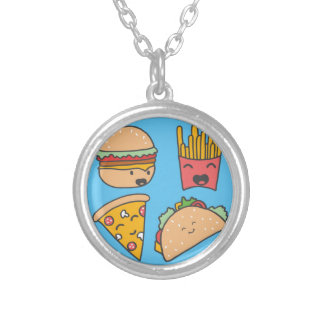 fast food friends silver plated necklace