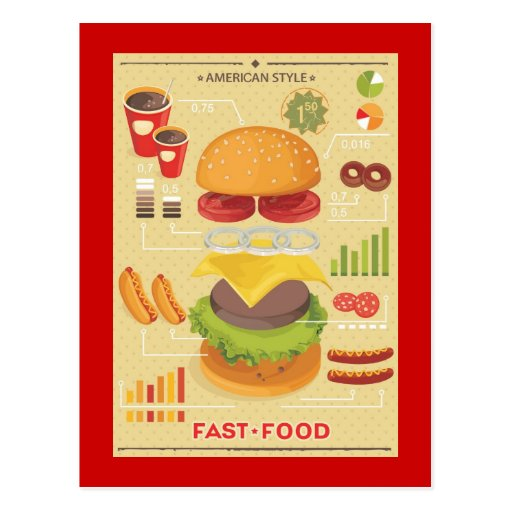 Fast food info graphic post cards