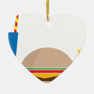 fast food meal ceramic heart ornament