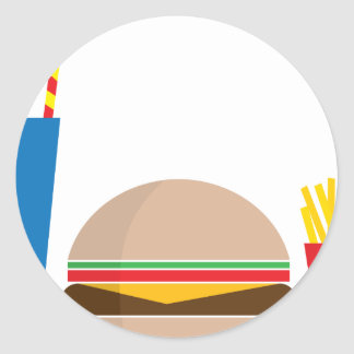 fast food meal classic round sticker