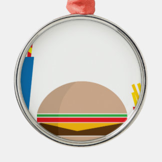 fast food meal Silver-Colored round ornament