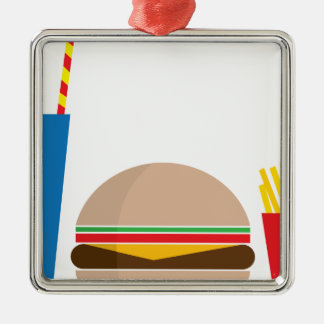fast food meal Silver-Colored square ornament