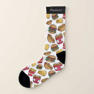 Fast Food Pattern custom name socks