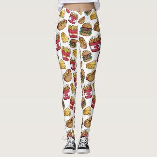 Fast Food Pattern leggings