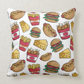 Fast Food Pattern throw pillows