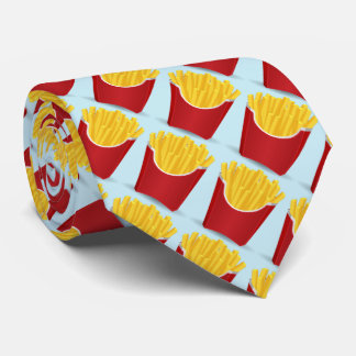Fast food, potato chips with blue background tie