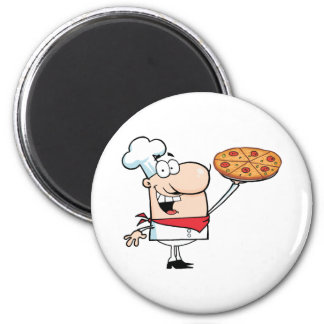 Fast Food Proud Chef Holds Up Pizza Magnet
