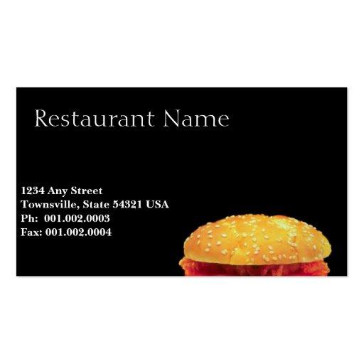 Fast food restaurant business card