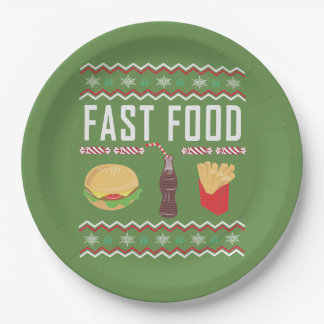 Fast Food Ugly Christmas Sweater Paper Plate
