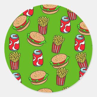 Fast Food Wallpaper Classic Round Sticker