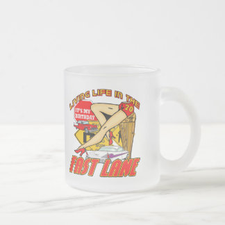 Fast Lane 70th Birthday Gifts Frosted Glass Coffee Mug