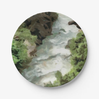 Fast moving river paper plate
