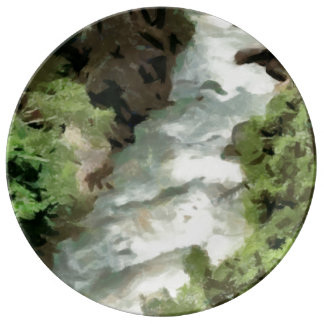 Fast moving river porcelain plates