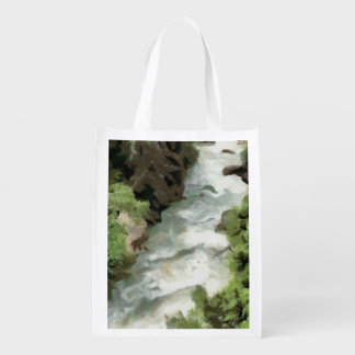 Fast moving river reusable grocery bag