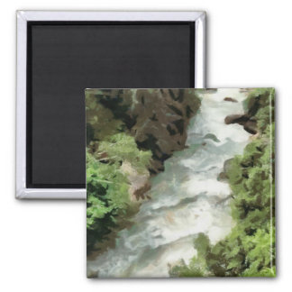 Fast moving river square magnet