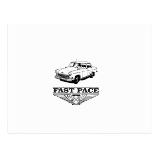 fast pace car yeah postcard