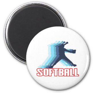 Fast Pitch Softball Silhouette 2 Inch Round Magnet