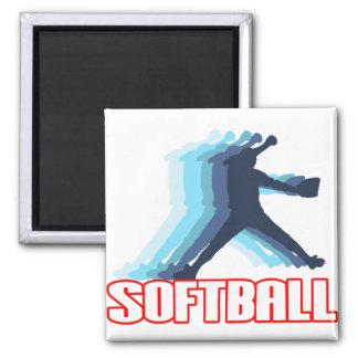 Fast Pitch Softball Silhouette Fridge Magnets