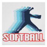 Fast Pitch Softball Silhouette Print