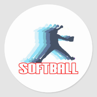 Fast Pitch Softball Silhouette Round Sticker