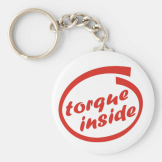 Fast racing car engine: torque or horsepower (hp) basic round button keychain