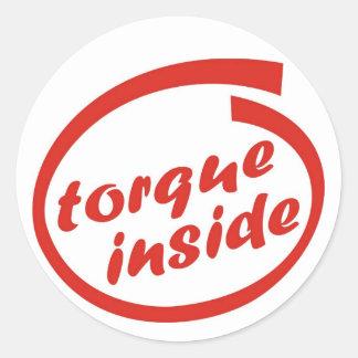 Fast racing car engine: torque or horsepower (hp) classic round sticker